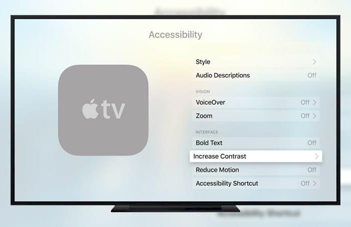 Apple TV'de Ekran Kontrastını Artırmak (Erişilebilirlik)