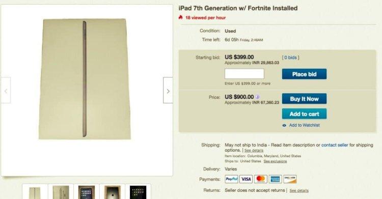 Fortnite Yüklü iPhone ve iPad'ler eBay'de Saçma Fiyatlarla Satılıyor