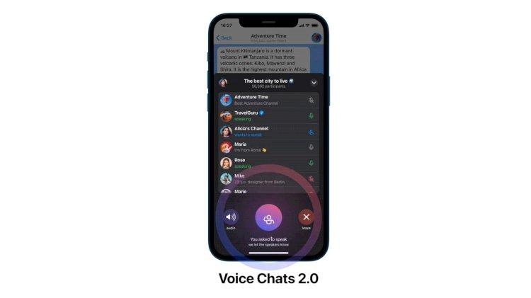 Sesli sohbetler için yeni Clubhouse benzeri özelliklerle güncellenen iOS için Telegram